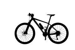 Bicyclette de montagne de silhouette d'isolement sur le fond blanc Image stock