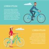 Bicyclette de monte de personnes Les cyclistes équipent et femme Affiche de bande dessinée illustration de vecteur