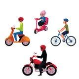 Bicyclette de monte de personnes, scooter, moto, mode de vie urbain, concept de transport routier illustration de vecteur