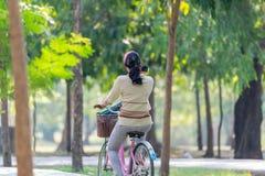 Bicyclette de recyclage de personnes en parc pour l'exercice Image stock