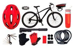 Bicyclette et équipement pour le fond faisant du vélo Images libres de droits