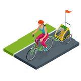 Bicyclette isométrique avec la remorque de vélo d'enfants Image stock