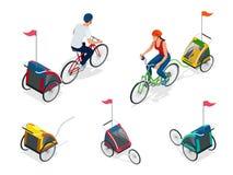 Bicyclette isométrique avec la remorque de vélo d'enfants Photo stock