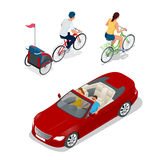 Bicyclette isométrique avec la remorque de vélo d'enfants Voiture de cabriolet Transport pour le voyage d'été illustration stock