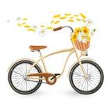 Bicyclette moderne avec le chariot plein de voler de fleurs et de pétales illustration libre de droits