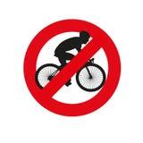 Bicyclette n'a pas permis le poteau de signalisation illustration de vecteur