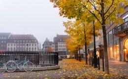 Bicyclette sur des pavés ronds de ville Image stock