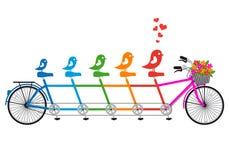 Bicyclette tandem avec la famille d'oiseau, vecteur Images stock