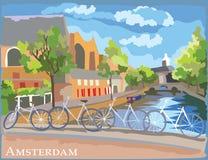 Bicyclettes colorées sur le pont au-dessus des canaux d'Amsterdam illustration de vecteur