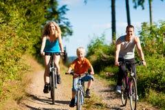 Bicyclettes d'équitation de famille pour le sport Photo stock