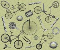 Bicyclettes et pièces de rechange Photographie stock libre de droits
