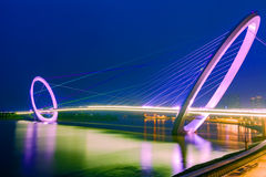 Bicyclic cable-stayed bridge Royalty Free Stock Images