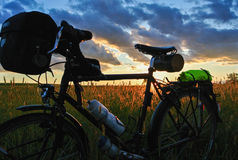 Bicycling заход солнца Стоковые Изображения RF