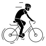 Bicycling - bycicle man icon, vector illustration, black sign on isolated background Stock Photo