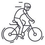 Bicycling,bycicle man vector line icon, sign, illustration on background, editable strokes Royalty Free Stock Photo