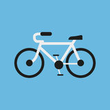 Bicycling in a flat design on a blue background. Vector illustration Stock Photo
