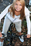 Bicycling in the forest Royalty Free Stock Images