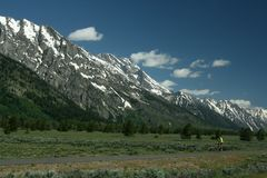 Bicycling in Grand Teton National Park Stock Photography
