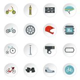 Bicycling icons set, flat style Royalty Free Stock Photography