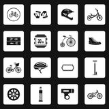 Bicycling icons set, simple style Stock Photo