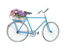 Bicycling met bloemen Stock Afbeelding