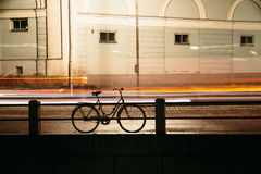 Bicycling in the night city Royalty Free Stock Image