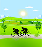 Bicycling and open landscape. Bicycling and open nature landscape Royalty Free Stock Images