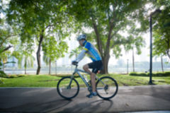 Bicycling in park. Stock Images