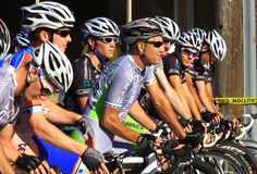 Bicycling race start up Stock Images