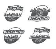 Bicycling retro do logotipo Bicicleta e ciclista Fotos de Stock