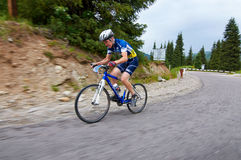 Bicycling uphill competition Stock Photography