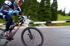 Bicycling uphill competition Stock Photos