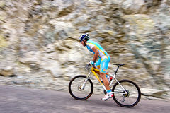 Bicycling uphill competition Royalty Free Stock Photography
