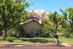 Zion National Park 8. Bicycling in Zion National Park landscape near park entrance stock photos