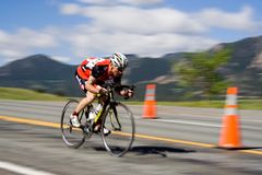 Bicyclist. A bicyclist flies downhill in the Morgul-Bismarck Road Race at the 2010 Superior Morgul Classic in Superior, CO Stock Photos