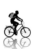 Bicyclist. Isolated wheelman with backpack silhouette royalty free illustration