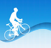 Bicyclist on the abstract background Stock Image