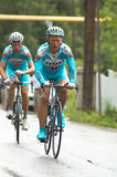 Bicyclist  Alexandr Vinokurov and  Andrey Kashechk Royalty Free Stock Photo