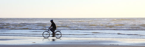 Bicyclist on Beach at Sundown. Bicyclist cycling along shoreline on sandy beach as sun is beginning to set royalty free stock photo