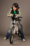 Bicyclist with bicycle Royalty Free Stock Image