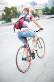 Bicyclist in the city Stock Photos