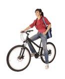 Bicyclist della donna Fotografia Stock Libera da Diritti