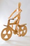 Bicyclist di legno Fotografie Stock Libere da Diritti