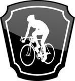 Bicyclist on emblem Stock Photo