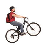 Bicyclist en blanco. Fotos de archivo