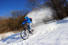 Bicyclist extreme winter Royalty Free Stock Photo
