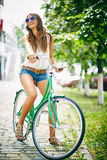 Bicyclist in eyeglasses Stock Photos