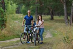 Bicyclist family, leisure in pine forest. Happy parents. Couple with son walks on bikes in park, cycling. copyspace royalty free stock photography
