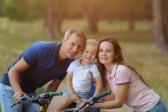 Bicyclist family, leisure in pine forest Stock Photography