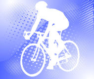 Bicyclist on the halftone background Stock Photography